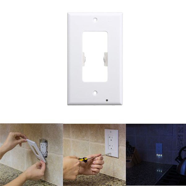 110v Led Light Control Wall Outlet Cover Plate Night Light Hallway