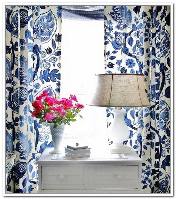 Navy Blue Floral Curtainsdoors And Windows Gallery Pretty Curtains Pinterest Blue And