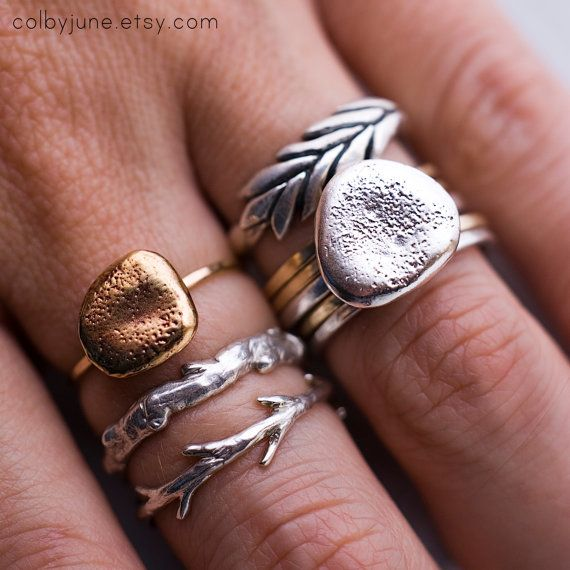Sticks and Stones Ring Set   Stacking Rings   Nature Inspired Rings