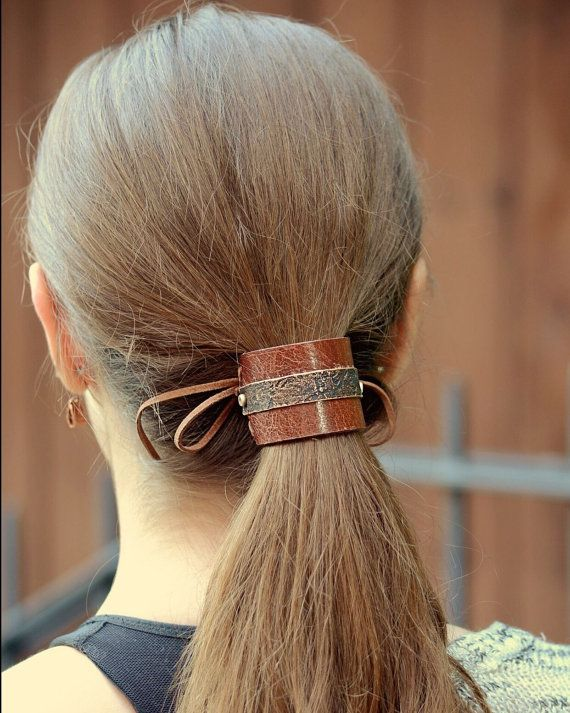 Leather Bun Cuff - Hair Accessory - Ponytail Cuff - Girlfriend Gift for her - 3rd Anniversary Leather For Her - Birthday Gift for Girlfriend
