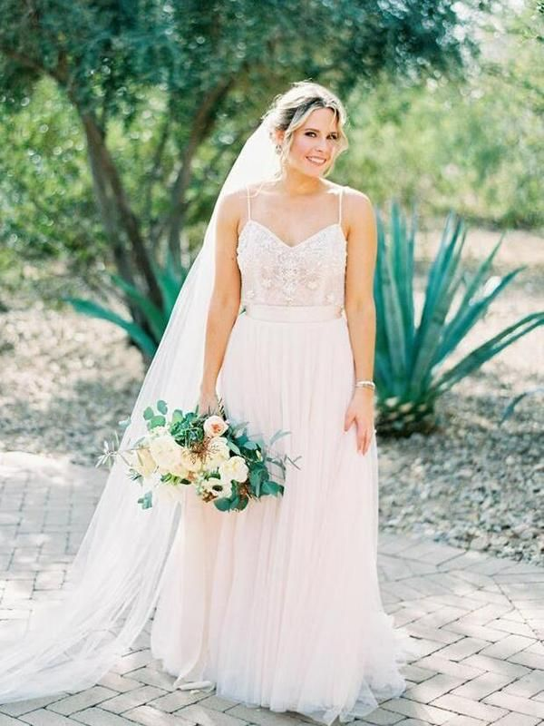 37742a995e41 Spaghetti Strap Beaded Ivory Tulle Wedding Dresses with Train AWD1283- SheerGirl