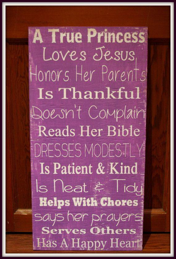 "A True Princess - Girl's Room Wall Hanging - 12"" x 24"" - Inspirational - Christian"