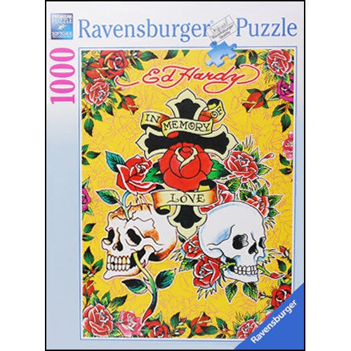 "Ed Hardy In Memory of Love 1000 Piece Puzzle: This Ed Hardy In Memory of Love 1,000-piece Jigsaw Puzzle measures 20"" X 27"" when complete. The superb quality of a Ravensburger puzzle is renowned. Be one of the millions to experience a whole new world of puzzling fun with Ravensburger.  $17.99  http://www.calendars.com/Modern-and-Pop-Art/Ed-Hardy-In-Memory-of-Love-1000-Piece-Puzzle/prod201100010148/?categoryId=cat00015=cat00015#"
