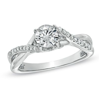 Diamond Twist Shank Engagement Ring