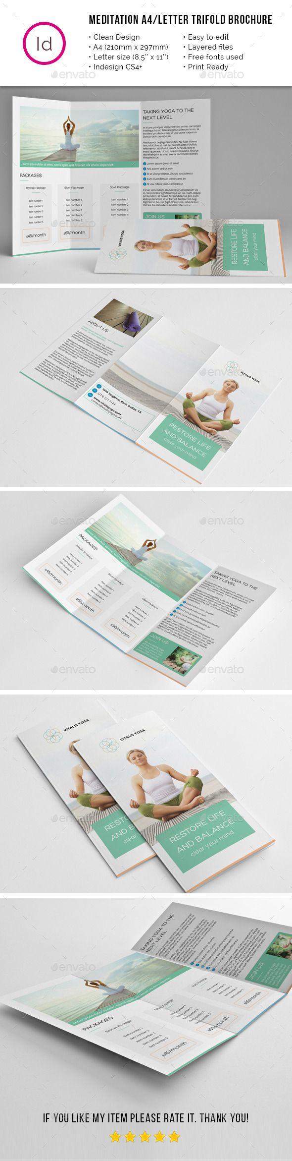 Yoga Meditation A4 / Letter Trifold Brochure Template #design Download: http://graphicriver.net/item/yoga-meditation-a4-letter-trifold-brochure/11752797?ref=ksioks