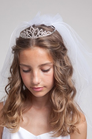 Hair with the tiara veil combo