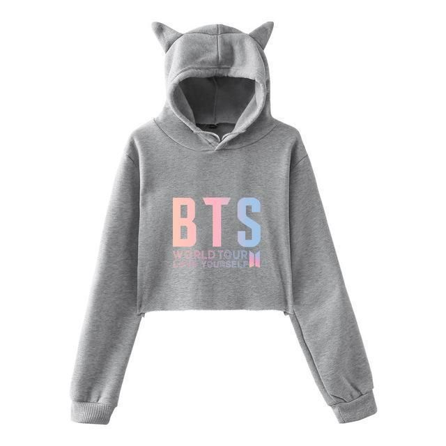 Honey New Got 7 Kpop Clothes Fashion Oversized Hoodies Cat Ear Long Sleeve Cropped Hooded Sweatshirts Pullovers Tops Sudadera Mujer Women's Clothing