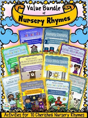 Try this big bundle of nursery rhyme activities for speech and language therapy. Cute worksheets & activities target sequencing, vocabulary & more!