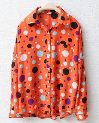 Orang-red Loose Polka Dot Shirt