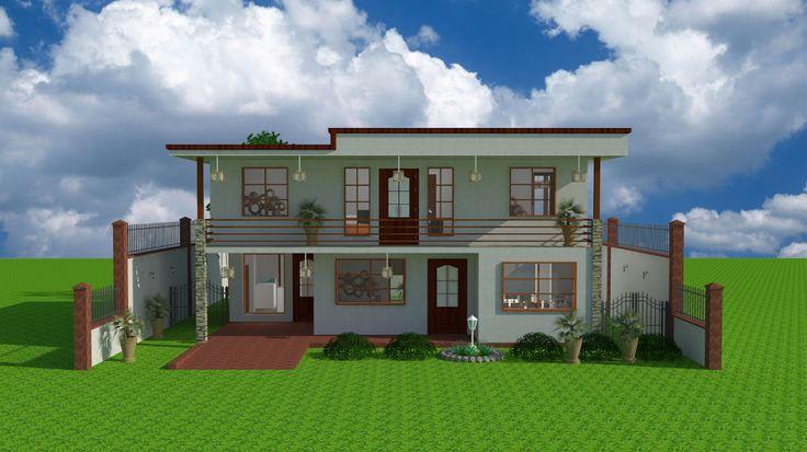 #espaciohonduras #kilotapias Diseños y Planos  de casa de dos pisos estilo sencilla-contemporánea proyecto K1 mas información en el siguiente Link: http://www.espaciohonduras.net/disenos-y-planos-de-casas-de-dos-pisos-proyecto-cdp-k1-sketchup-y-autocad