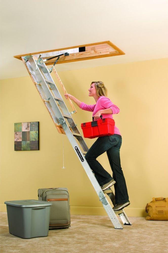 Folding Attic Access Pull Down Steps Ladder Aluminum Loft Door Storage  Garage