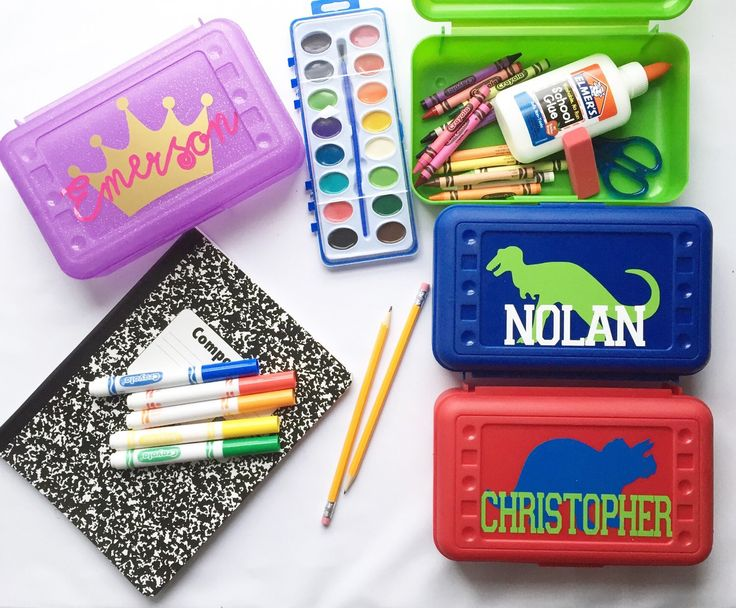 Personalized Pencil Box Crayon Box Back to school supplies Monogram Pencil Box Monogram Office supply by carolinapeachpress on Etsy https://www.etsy.com/listing/240357276/personalized-pencil-box-crayon-box-back