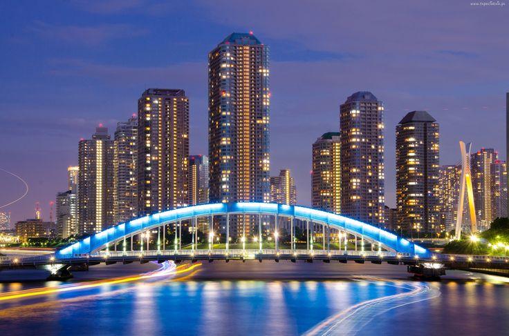 Japonia, Tokio, Wieżowce, Rzeka, Most