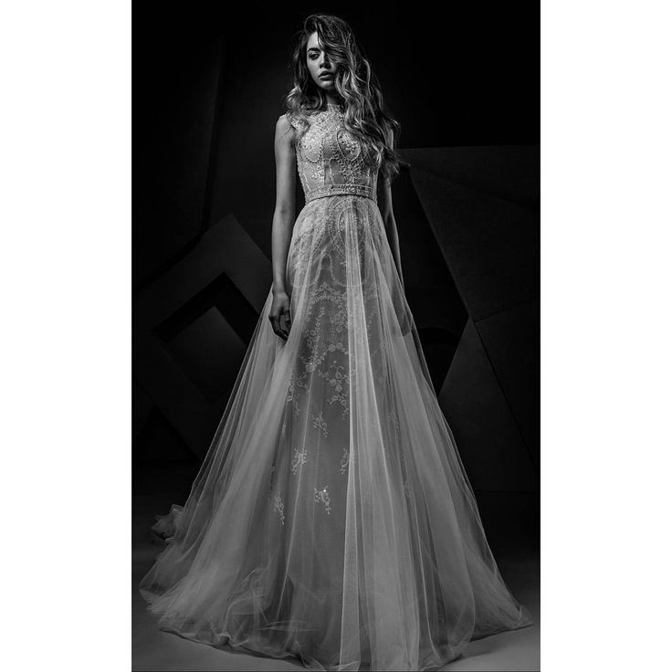Ersa Ateliet ss 18 french lace wedding dress featuring all over hand made intricate embroideries with Swarovski pearl and crystal beading.