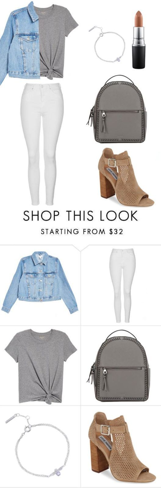 10 Summer Outfits to Wear Now Denim Jacket, white jeans, grey shirt and grey bag
