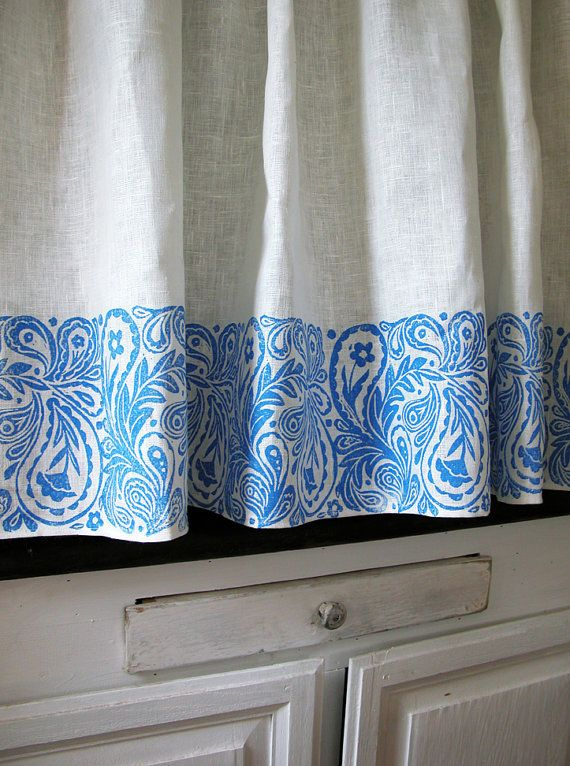 French Country Paisley Cafe Curtain 57 x 27 inch home by giardino, $80.00