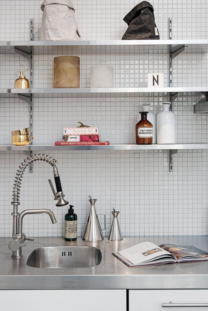 kitchen Countertop, shelving in stainless steel and mosaic