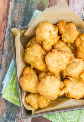 Clam cakes are a summer tradition in Rhode Island. A ride to the shore will always necessitate a stop at Georges or Aunt Carries for a dozen clam cakes and a pint of chowder!