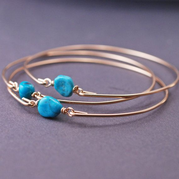 Gold Arizona Sleeping Beauty Turquoise Bangle Bracelet Set by georgiedesigns
