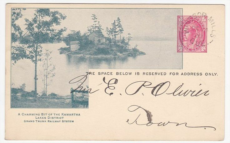 Canada 1902 Grand Trunk Railways Advertising Card Kawartha Lakes District. Stoney Stony Lake. Postmarked Oct 14, 1902.