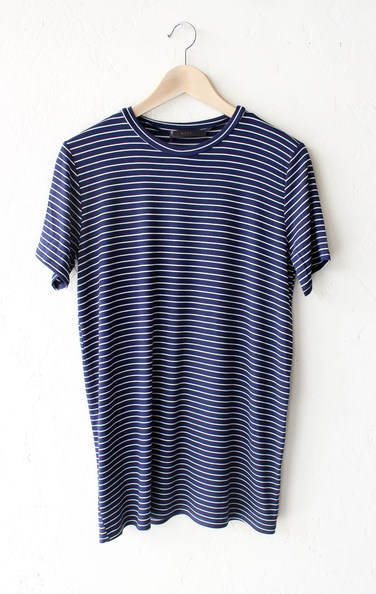 """- Description Details: Soft short sleeve striped oversized shirt in navy/white. Oversized, very loose fit. Measurements: (Size Guide) S: 38"""" bust, 28"""" length M: 40"""" bust, 29"""" length L: 42"""" bust, 30"""" l"""