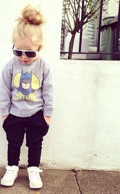 This will definitely be our little girl. Batman and sweats like Jordan. Hair up in a bun like me