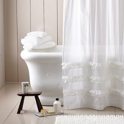White #paneling, white #bathtub and pretty white shower curtain. #Bathroom