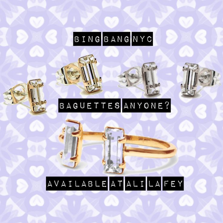 Bing Bang NYC - Baguettes Anyone? Beautiful Baguette Jewellery available in 14k gold and sterling silver. These are available online now at ALI LA FEY http://ow.ly/Uggx4 Free shipping on all orders Australia Wide.