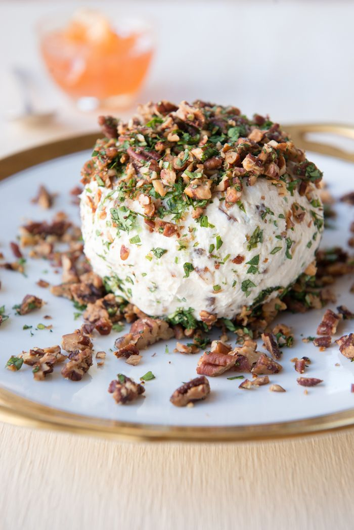 Cheese Ball with Blue Cheese, Cream Cheese, Goat Cheese and Roasted Pecans - from Vivian Howard via Garden & Gun magazine