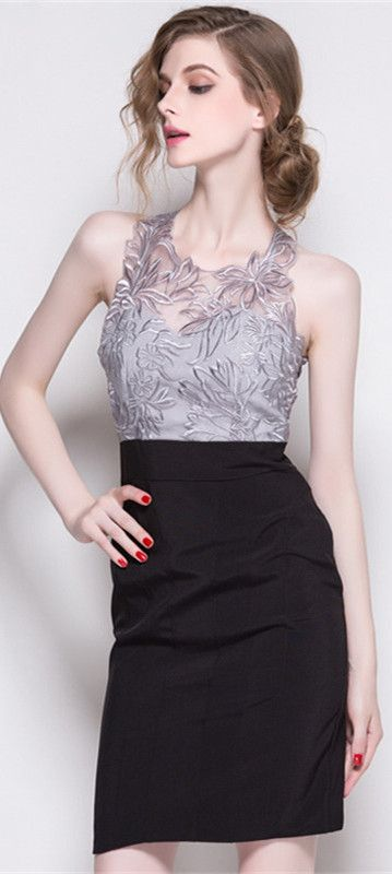 Silver Sleeveless Embroidered Dress