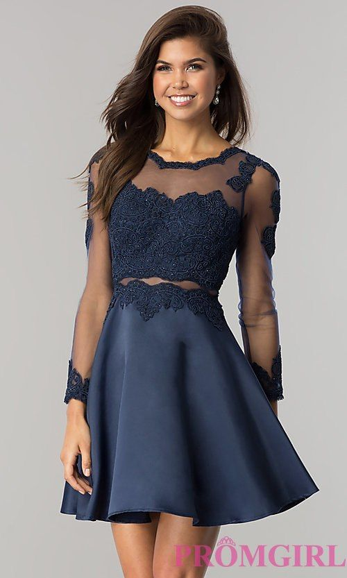 5307f975ed2 Image of long-sleeve mock-two-piece homecoming dress. Style  DQ-2034 Front  Image