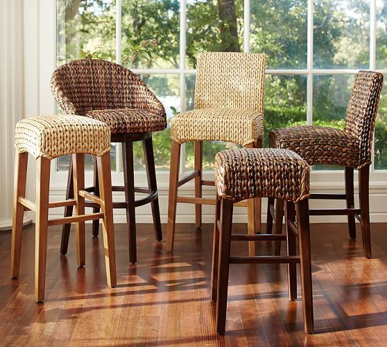 Oh the variety! Woven chairs are great for the bar area, because they are both durable and comfortable.