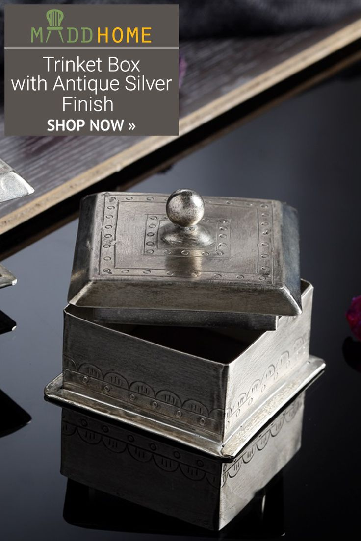 Modern Trinket Box with Antique Silver Finish
