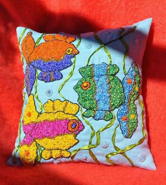 NUEVO!! almohada decorativa, almohada de lino, almohada bordada, almoada azul, funda de cojin lino, funda de cojin azul, cojines de lino