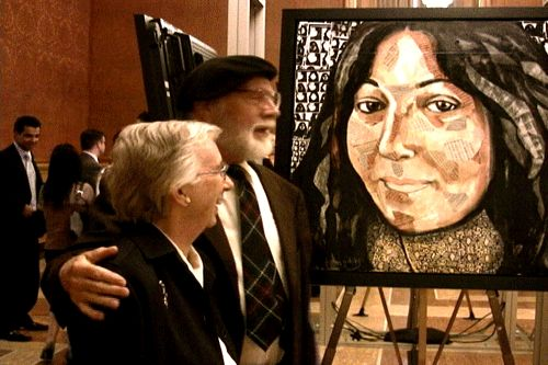 Voices of Refugees at the Parliament of Canada - Parliament of Canada, Voices of Refugees Installation, videos, paintings and live performance by Guatemalan revolutionary singer Tito Medina, featuring 8 portraits by Sherry Tompalski and 8 videos by Graham Thompson of refugees from Central America, Central Asia and Africa, June 2009. SEE: http://globalvoicesproject.ca