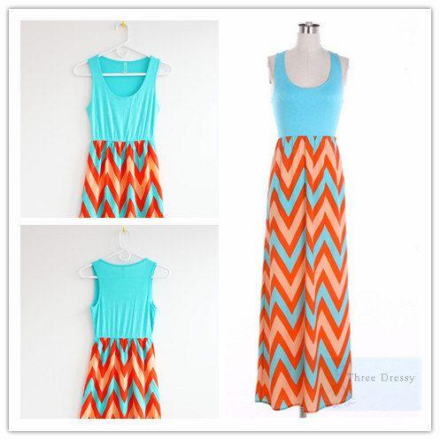 Summer Maxi Dress Chevron Maxi Dress Causal Maxi by ThreeDressy, $45.99