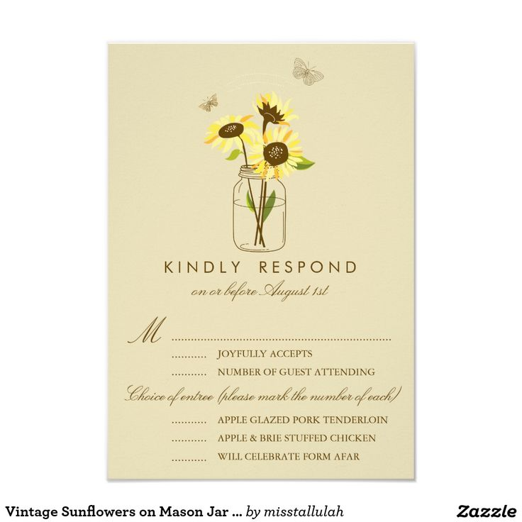vintage country garden wedding invitations%0A Vintage Sunflowers on Mason Jar Wedding RSVP Card