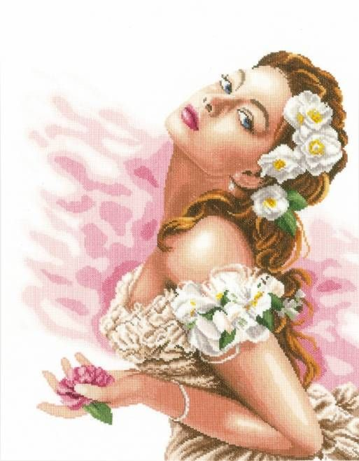 Lady Of Camellias Cross Stitch Kit - £61.00 on Past Impressions | by Lanarte