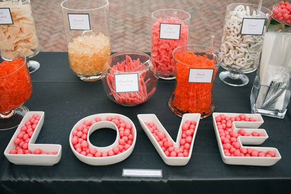Candy bar in peach, coral & white: Colors Candy Bar, Candy Buffet, Coral Candy Bar, Bar Ideas, Wedding Candy Bar Buffet Coral, Bridal Shower, Parties Ideas, Candy Tables, Buffet Ideas