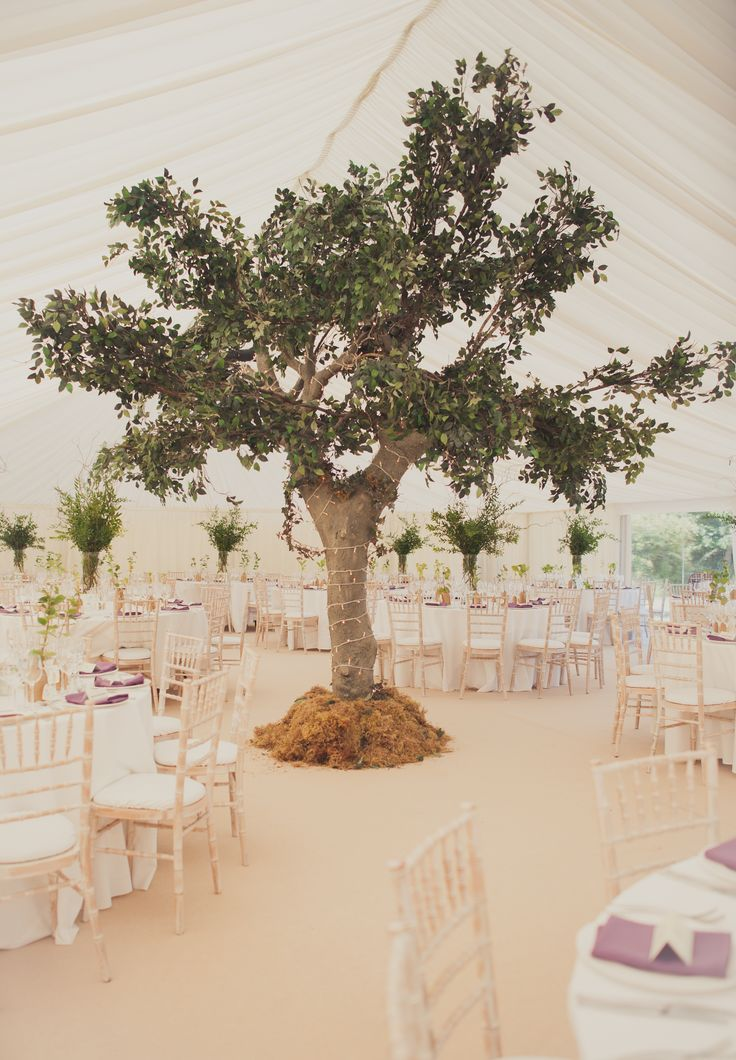 A large fibreglass tree was installed inside the #marquee - it looked so real, guests thought we had built the marquee around it  #rusticwedding #Collection26 http://www.collection26.com/weddings/portfolio/