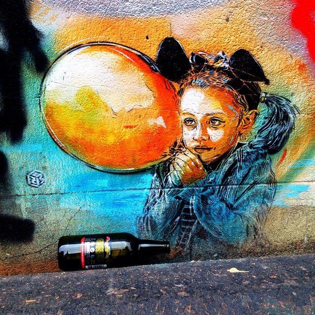 Girl with a balloon, Minerva Street, by #C215 #graffiti #streetart #graff #london #londonstreetart #c215