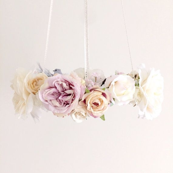 Whimsical dove lilac floral chandelier, bird nursery mobile, baby girl dove flower mobile, purple hanging baby mobile, bird crib mobile