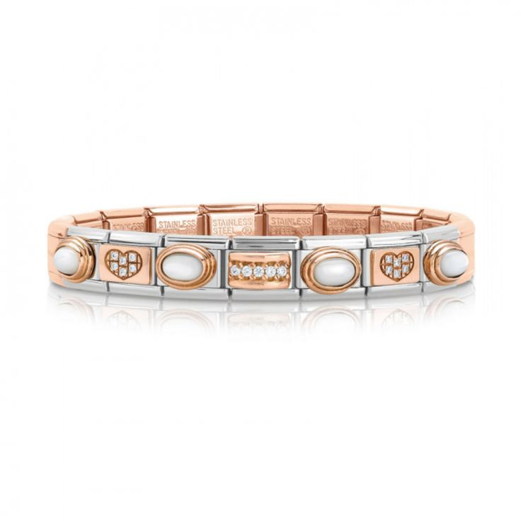 Composable Bracelet with Rose Gold base and Stones #nominationitaly #composable #bracelet #rosegold