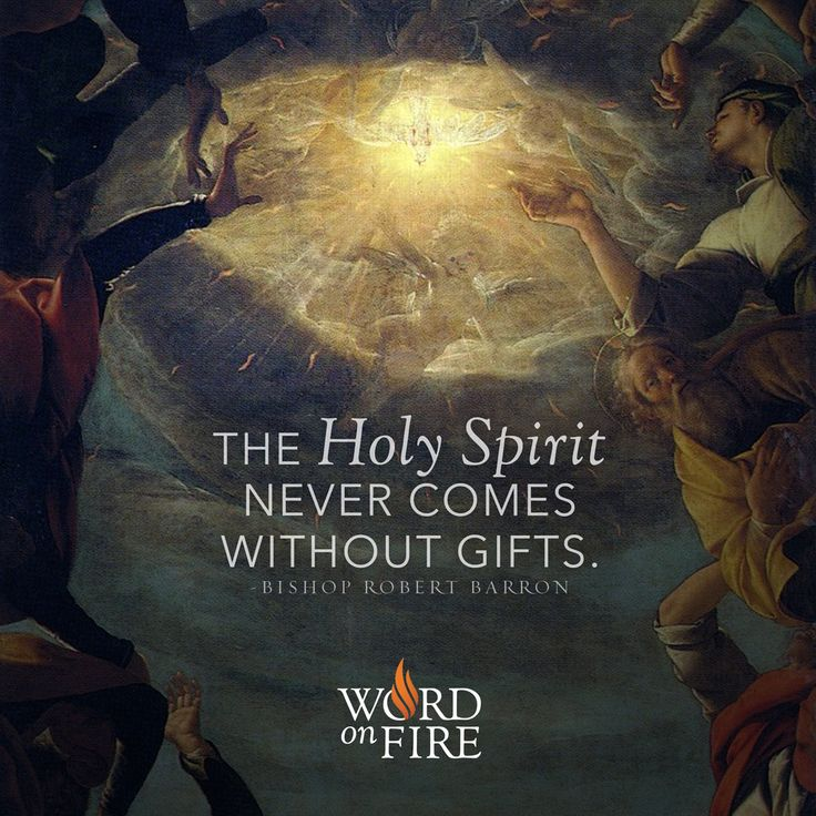"""""""The Holy Spirit never comes without gifts."""" - Bishop Robert Barron"""