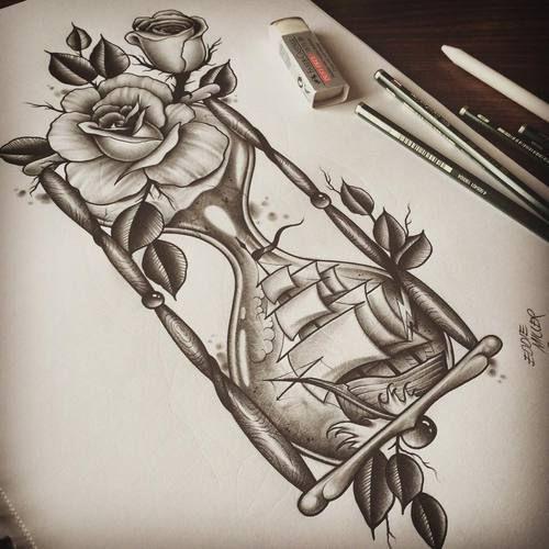 photo realism hourglass shaped tattoo - Google Search
