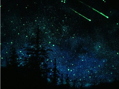 """Glow-in-the-dark paint!  I really want to do this in the kids' rooms.  You can't see anything in the daylight, but at night the """"sky"""" lights up the night."""