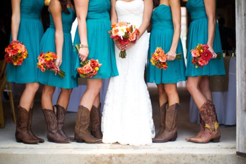 Love this except I would use purple and teal flowers, and purple dresses, with all the same cowboy boots.
