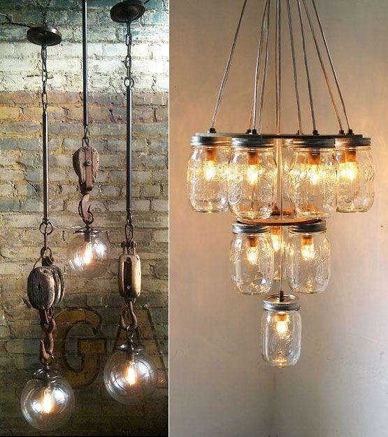 Rustic Industrial Lighting Chandelier Mason Jar Chandelier: 166 Best Images About Lighting Ideas On Pinterest