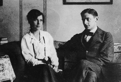 Thomas and first wife Vivien Eliot in London, 1916. (click through to Rowan Williams on The Anguish of T.S. Eliot, a book review in the New Statesman. rw)