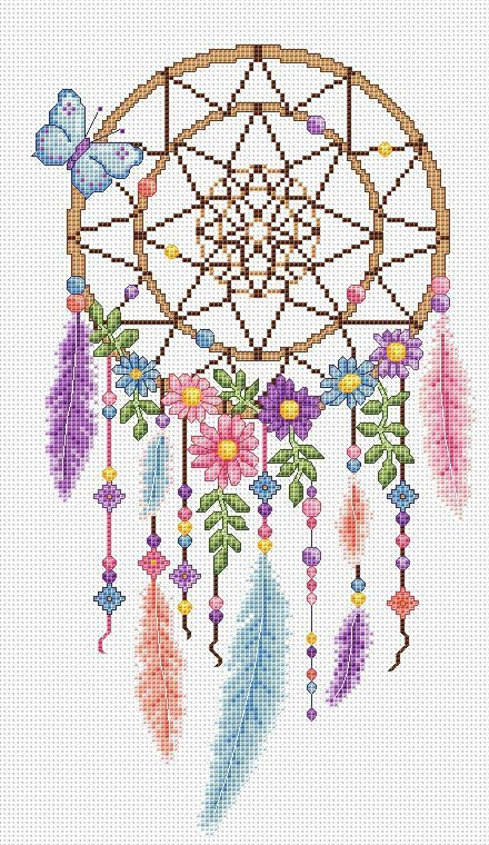 dreamcatcher cross stitch chart by AmandaGCrossStitch on Etsy